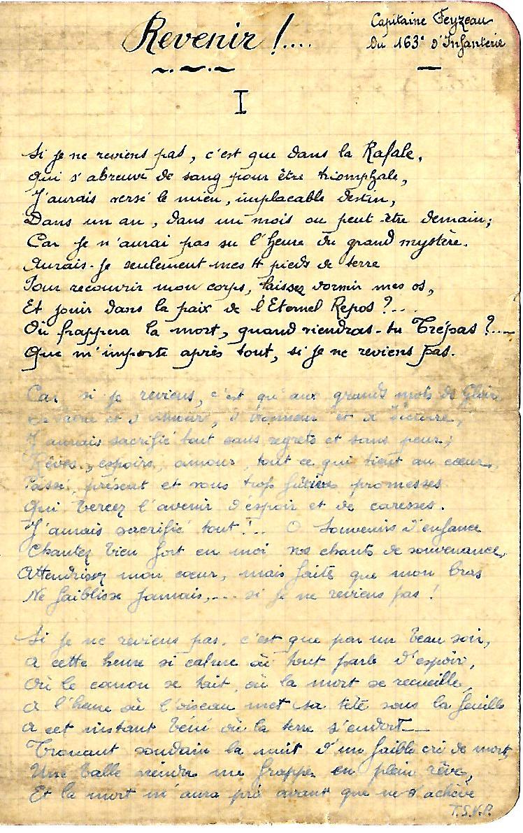 «Revenir ! …» poème du Capitaine Feyzeau du 163ème RI