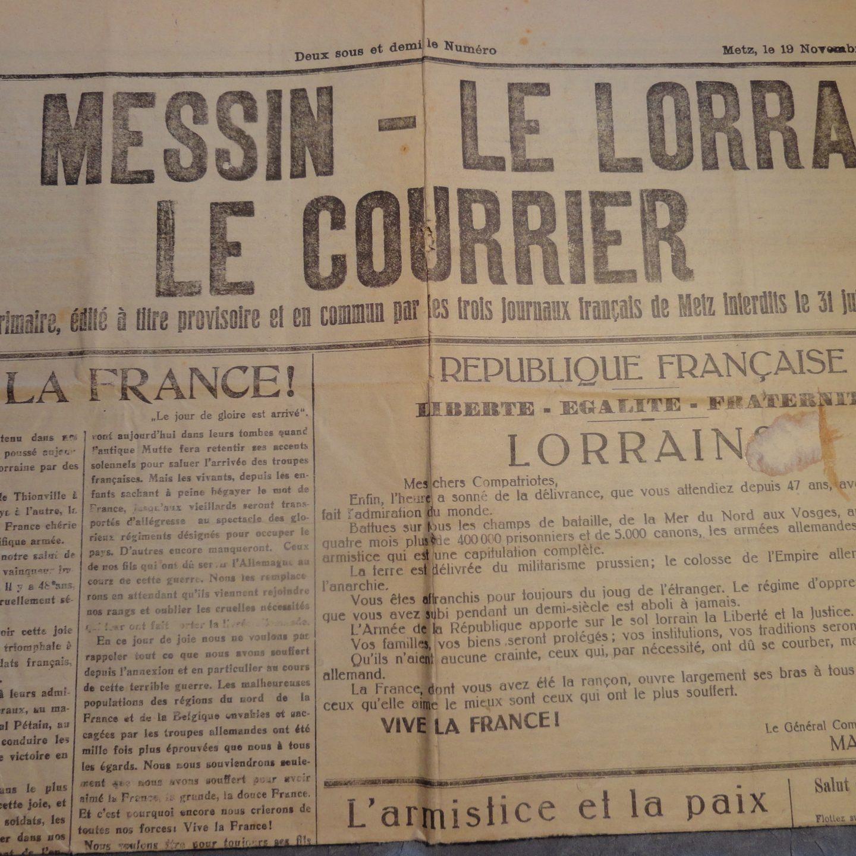 Spécial Centenaire de l'Armistice – lettres de novembre 1918 : Parution d'une Presse enfin libérée