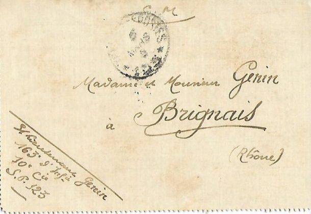 Front 1ère partie: reprise des lettres – courrier du 3 février 1916